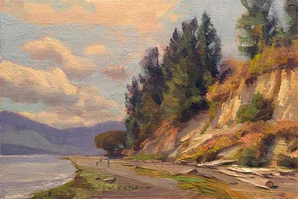 Beach at Marlyn Nelson Park, an oil by Jim Lamb.