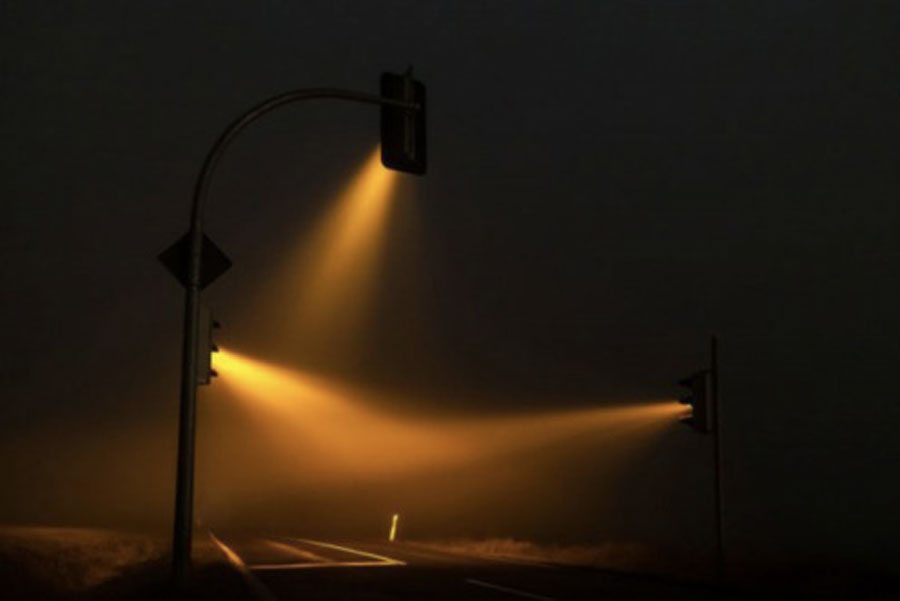 Fog-Induced Yellow Traffic Light